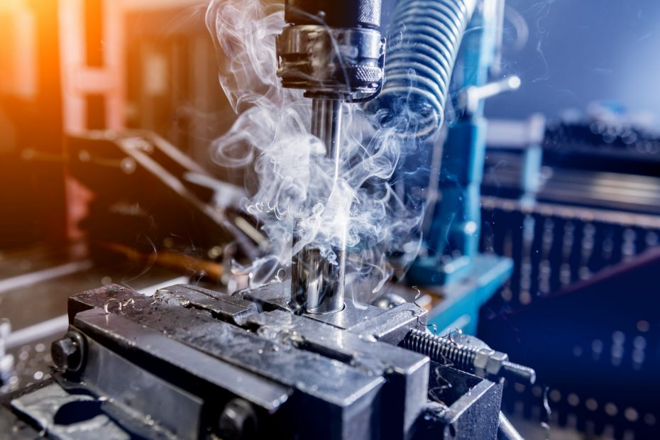 Drilling machine with drill bit for tapping.